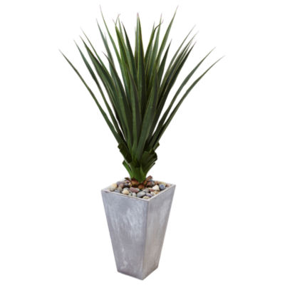 5'H Spiked Artificial Agave in Cement Planter (Indoor/Outdoor)
