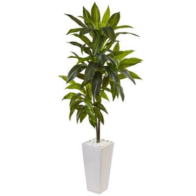 3' Dracaena Artificial Plant in White Tower Planter