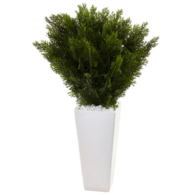 2.5'H Cedar Artificial Plant in White Tower Planter