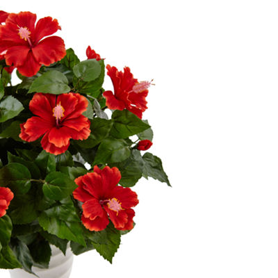 Hibiscus Artificial Flowering Plant in Swirl Planter