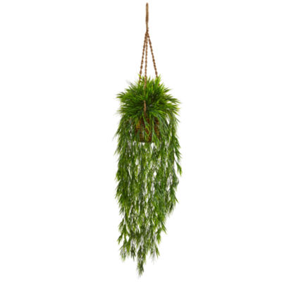 Mini Bamboo Artificial Plant Hanging Basket