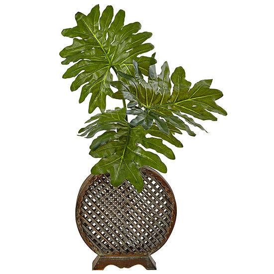 Selloum Artificial Plant In Open Weave Vase