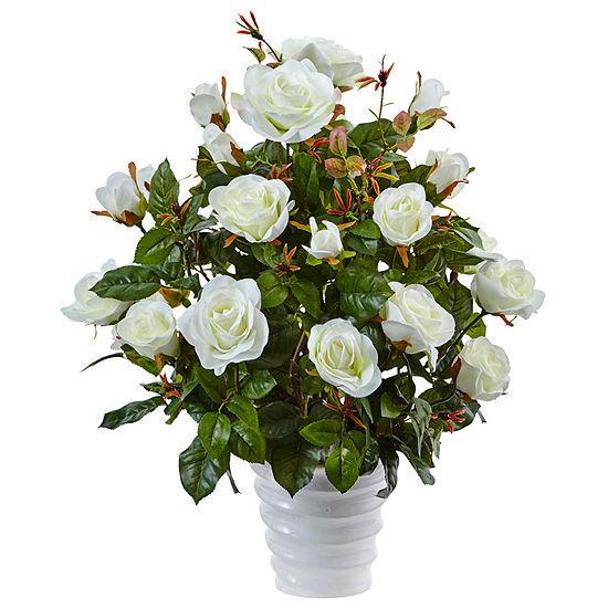 Rose Bush Silk Arrangement in Swirl Planter