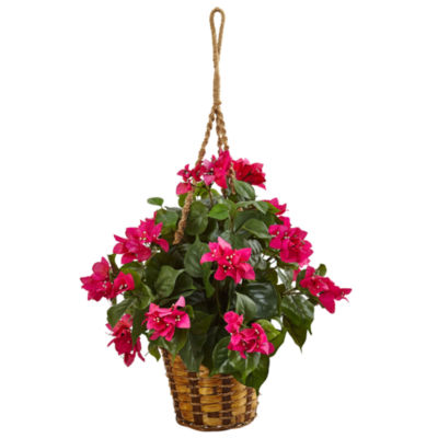 Bougainvillea Flowering Artificial Plant in Hanging Basket