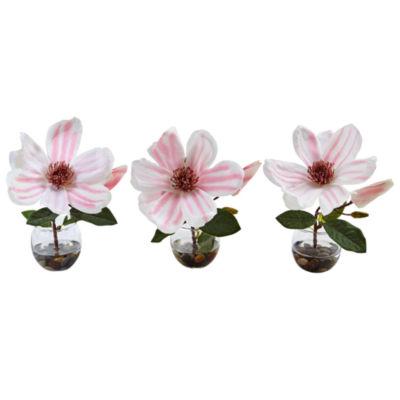 Magnolia Silk Arrangement in Votive Glass Vases (Set of 3)