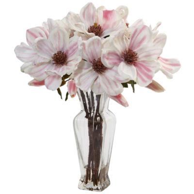 Magnolia Artificial Arrangement in Shapely Glass Vase