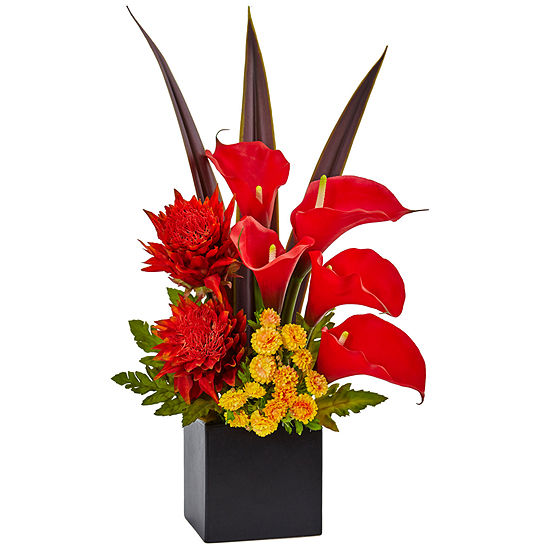 Tropical Floral and Calla Lily Mixed Silk Arrangement