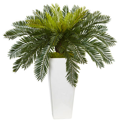 Cycas Artificial Plant in White Planter