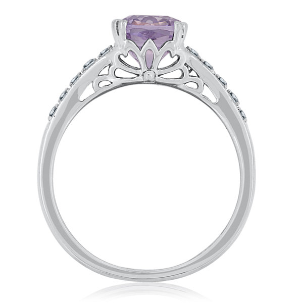 Womens Genuine Amethyst and Lab-Created White Sapphire Sterling Silver Cocktail Ring