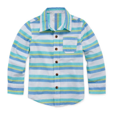 Okie Dokie Long Sleeve Woven Shirt- Toddler Boys