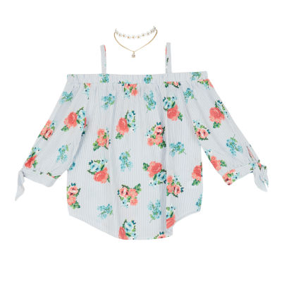 by&by girl Round Neck 3/4 Sleeve Off Shoulder Sleeve Blouse Girls