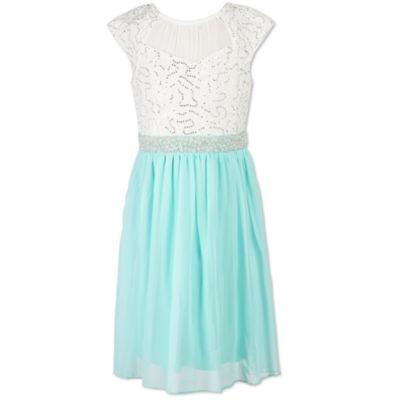 Speechless Sleeveless Lace Shoulder Sleeve Party Dress - Big Kid Girls