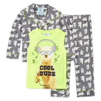 Polar Bear 3 PC Pajama Set - Toddler Boys