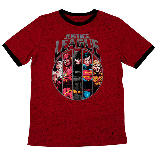 Boys Crew Neck Short Sleeve Justice League Graphic T-Shirt - Big Kid