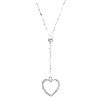 Sparkle Allure Womens 1/3 CT. T.W. Pure Silver Over Brass Heart Pendant Necklace