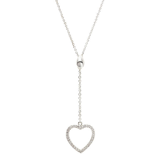 Sparkle Allure Womens 1 3 Ct Tw Pure Silver Over Brass Heart Pendant Necklace