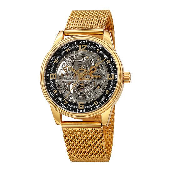 Akribos XXIV Mens Gold Tone Bracelet Watch-A-1074ygb