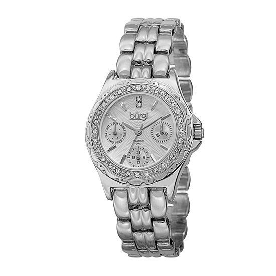 Burgi Womens Silver Tone Bracelet Watch-B-117ss