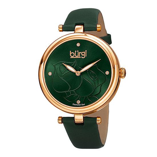 Burgi Womens Green Strap Watch-B-151gn