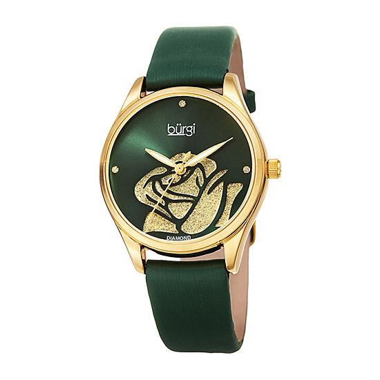 Burgi Womens Green Strap Watch B 189gn