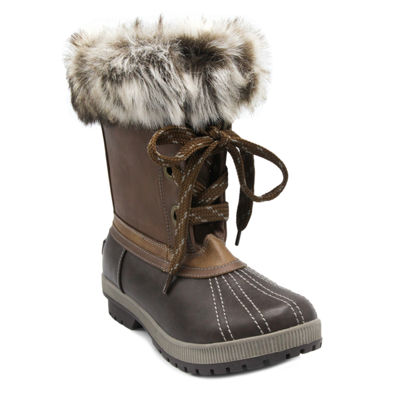 London Fog Womens Milly Water Resistant Snow Boots Block Heel Lace-up