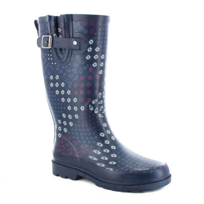 Western Chief Womens Pretty Pattern Waterproof Flat Heel Pull-on Rain Boots