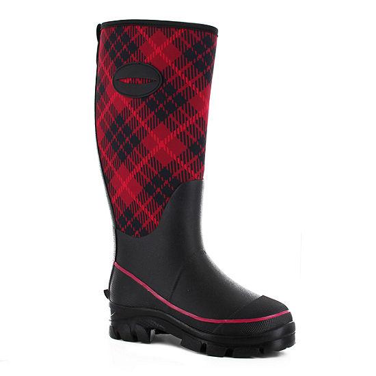 Western Chief Womens Lumber Plaid Winterprene  Waterproof Flat Heel Pull-on Rain Boots