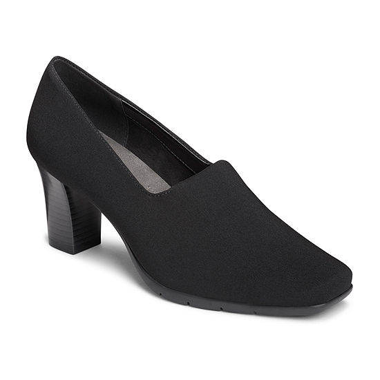 7adbbb8188ed A2 by Aerosoles Womens Monogram Closed Toe Stacked Heel Slip-on Pumps -  JCPenney