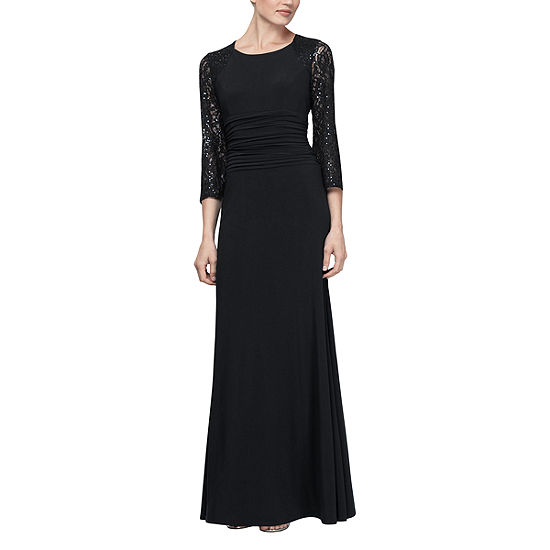 S. L. Fashions 3/4 Sleeve Evening Gown