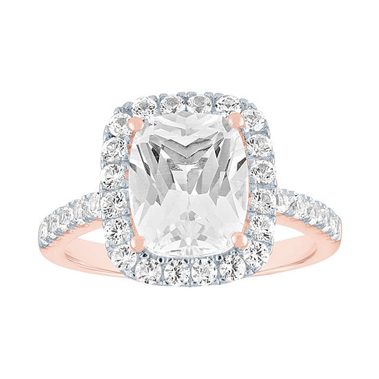 Womens Lab Created White Sapphire 14K Rose Gold Over Silver Cocktail Ring