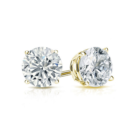 1 1/4 CT. T.W. Genuine White Diamond 14K Gold 5.4mm Stud Earrings