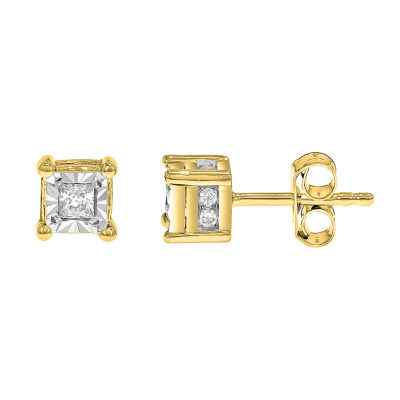 True Miracle 1/6 CT. T.W. Genuine White Diamond 10K Gold 4mm Stud Earrings