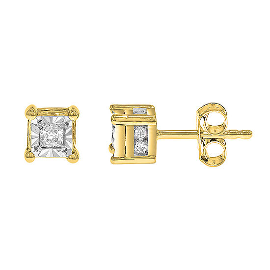 Tru Miracle 1/6 CT. T.W. Genuine White Diamond 10K Gold 4mm Stud Earrings
