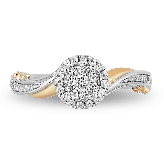 Enchanted Disney Fine Jewelry Womens 1/3 CT. T.W. Genuine White Diamond 10K White Gold Engagement Ring