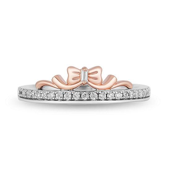 Womens 1/6 CT. T.W. Genuine White Diamond 10K Rose Gold Engagement Ring