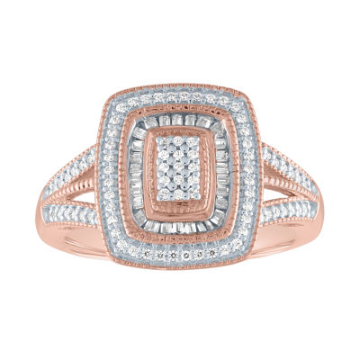 Womens 1/3 CT. T.W. Genuine Diamond 14K Rose Gold Over Silver Cocktail Ring