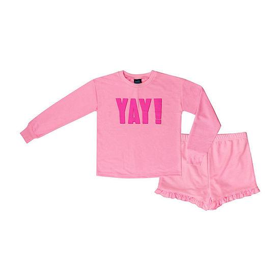 Jelli Fish Kids Yay French Terry 2pc Short Pajama Set Girls