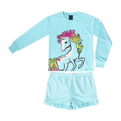 Jelli Fish Kids Unicorn French Terry 2pc Short Pajama Set - Girls