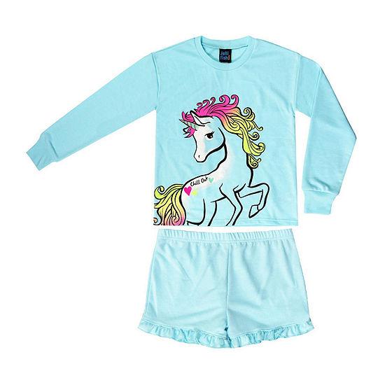 Jelli Fish Kids Unicorn French Terry 2pc Short Pajama Set Girls