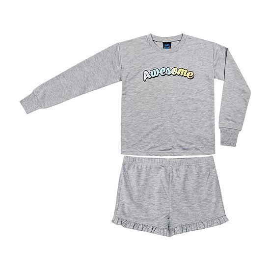 Jelli Fish Kids Awesome Frech Terry 2pc Short Pajama Set - Girls