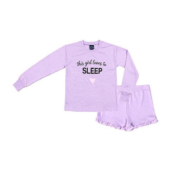 Jelli Fish Kids Girl Loves to Sleep French Terry 2pc Short Pajama Set - Girls