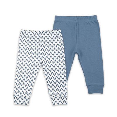 The Peanut Shell Blue Chevron 2-Pk. Pant Boys Pull-On Pants - Baby