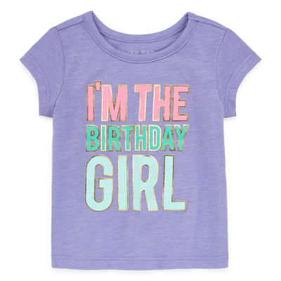 Okie Dokie Happy Birthday Girls Round Neck Short Sleeve T-Shirt-Baby