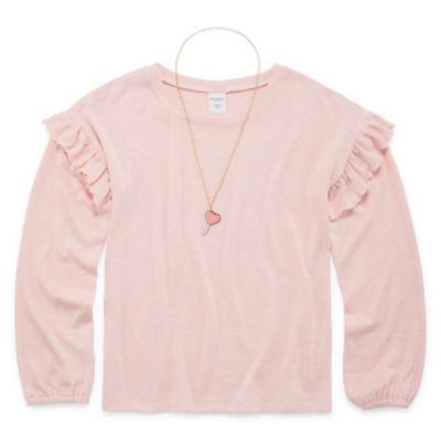 Arizona Ruffle Sleeve Top With Necklace - Girls' 4-16