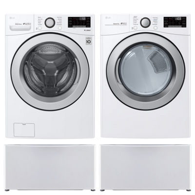 LG Front Load 4-pc. Electric Washer & Dryer Set with Pedestal Washer- White