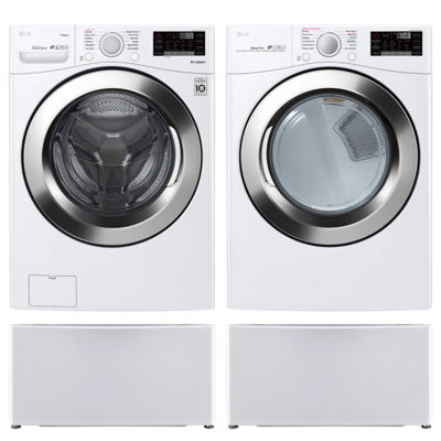 LG Front Load 4-pc. Gas Washer & Dryer Set with Pedestal Washer- White