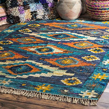 nuLoom Jaye Tassel Cotton Flatweave Area Rug, One Size , Blue
