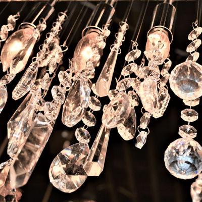 Nadia Collection 10 Light Chrome Finish and Clear Crystal Linear Pendant and Bar Chandelier