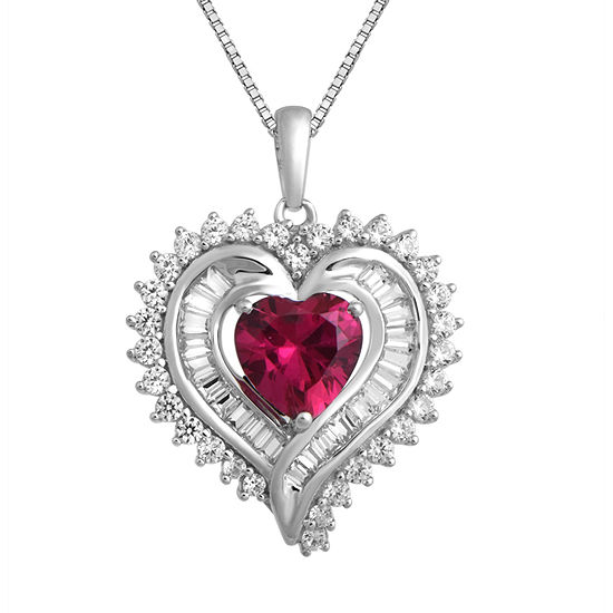 Womens Lab Created Red Ruby Sterling Silver Heart Pendant