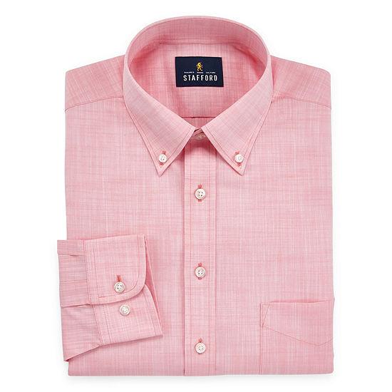 Stafford Mens Wrinkle Free Linen Look Dress Shirt